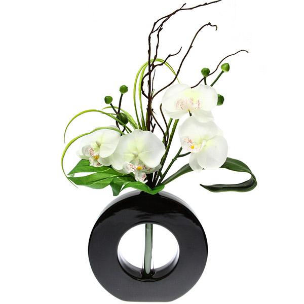 Top Composition Florale Artificielle - Orchidée avec vase en céramique ES35