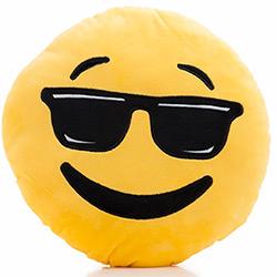 Coussin Emoji Cool avec Lunettes