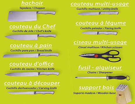 Bloc couteaux de cuisine inox couteaux ciseaux et aiguiseur for Liste des ustensiles de cuisine
