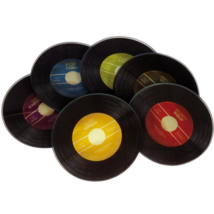 Dessous de verre vinyle par 6 en couleurs - Collection de vinyle ...