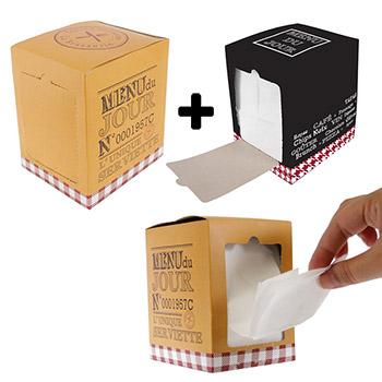 Lot de 2 Distributeurs de Serviettes en Papier Design Bistrot