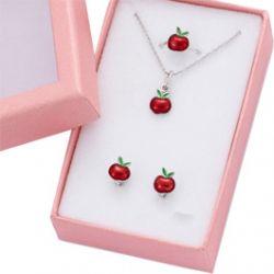 Bague + Boucles d'oreilles + Chaine et Pendentif Pomme Argent