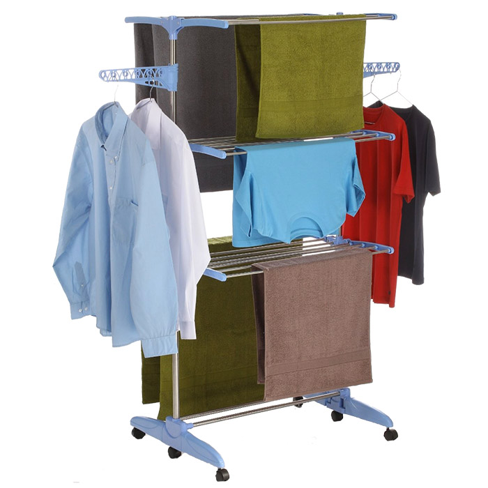 Grand tendoir linge int rieur avec porte cintres for Etendage linge interieur