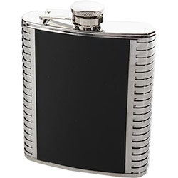 Flasque Inox Simili Cuir Noire