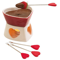 Service à Fondue au Chocolat Coeur