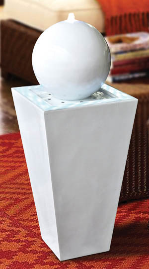 Fontaine d 39 int rieur lumineuse design laqu e blanche for Fontaine d interieur design zen