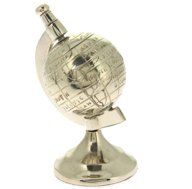 Globe terrestre mappemonde alu avec socle d coratif for Globe lampe de chevet