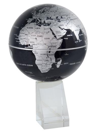 magnifique globe terreste tournant noir et argent. Black Bedroom Furniture Sets. Home Design Ideas
