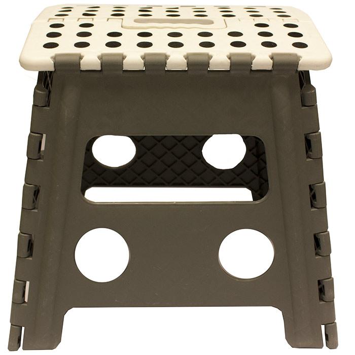 grand tabouret marche pied pliant pliable 31 cm gris et blanc ebay. Black Bedroom Furniture Sets. Home Design Ideas