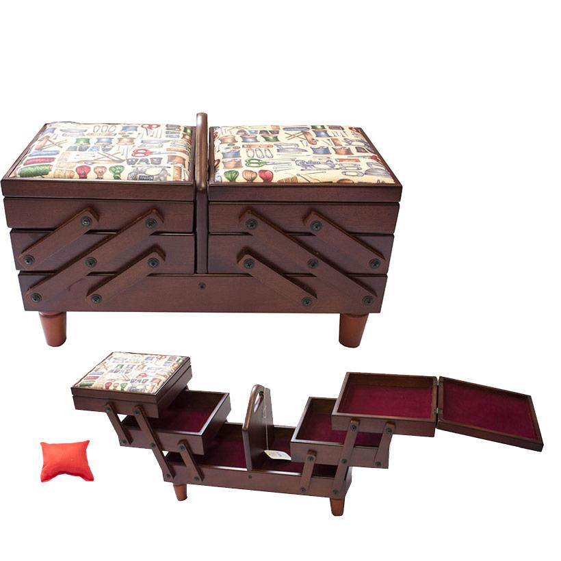 Grande boite couture luxe en bois rangement cadeaux for Boite a couture en bois