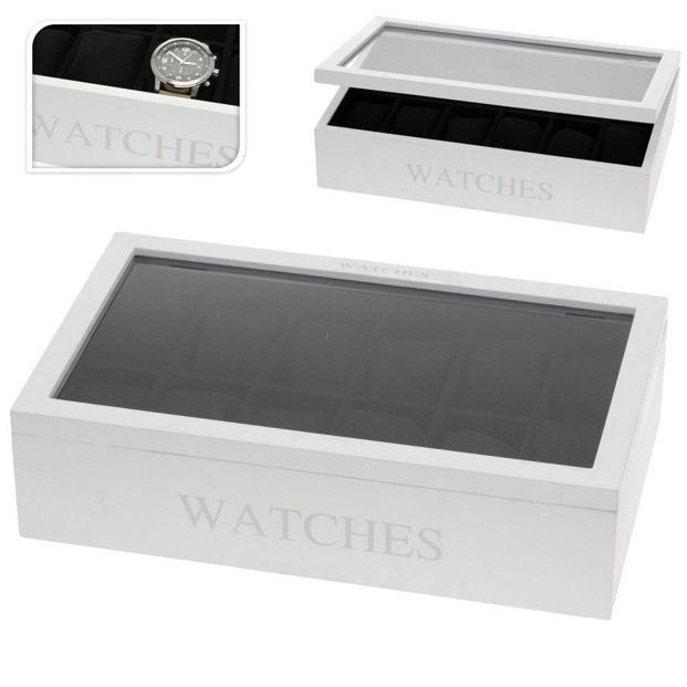 coffret de rangement 12 montres hommes et femmes blanc. Black Bedroom Furniture Sets. Home Design Ideas