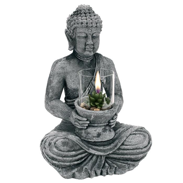 Grande statue bouddha avec bougie photophore en verre - Statue decoration interieur ...