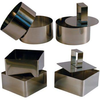 3 Cercles et 3 Carrés de Présentation Inox avec Poussoirs - 8 cm
