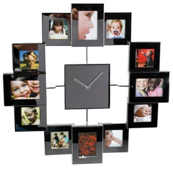 horloge cadre photo avec effet miroir. Black Bedroom Furniture Sets. Home Design Ideas