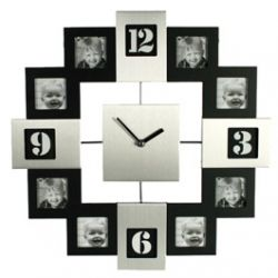 Horloge Cadre Photo Silver et Noire