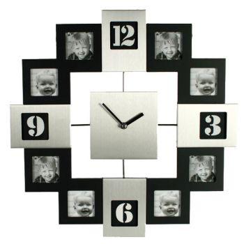 Horloge Cadre Photo Silver et Noire