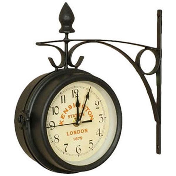 Horloge de gare double face m tal style gares d 39 autrefois - Pendule de gare double face ...