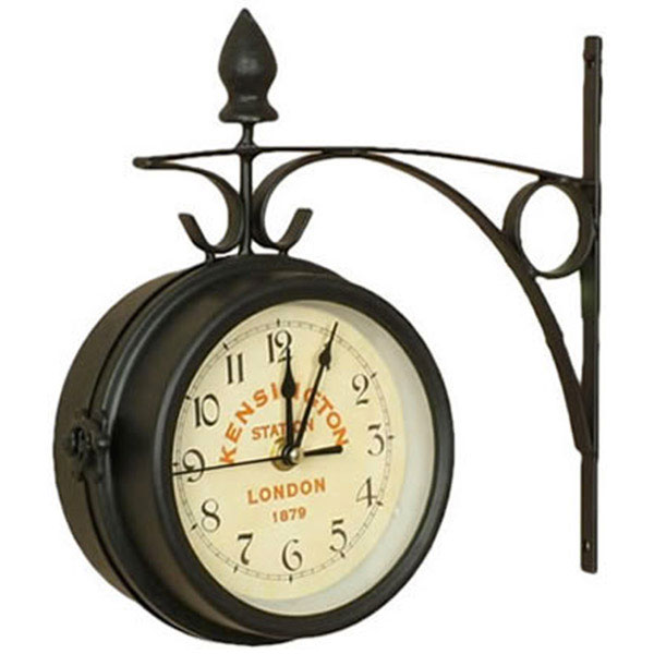 Horloge de gare double face m tal style gares d 39 autrefois - Horloge de gare double face ...
