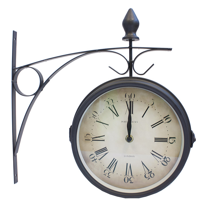 Horloge de gare double face en m tal - Horloge double cadran ...