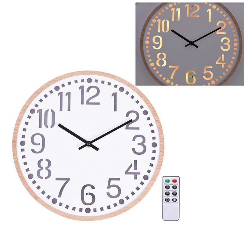 Horloge murale lumineuse 12 led avec t l comande for Horloge lumineuse