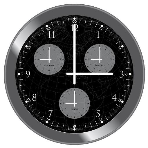 horloge multi fuseaux horaires tokyo new york londres. Black Bedroom Furniture Sets. Home Design Ideas