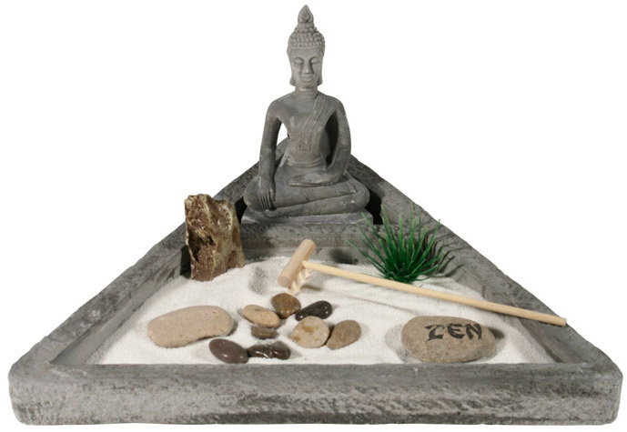 Jardin Zen Triangle Bouddha Avec Pierre Porte Bonheur