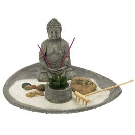 Jardin zen bouddha plateau rond sable blanc porte bonheur - Bouddha jardin zen ...