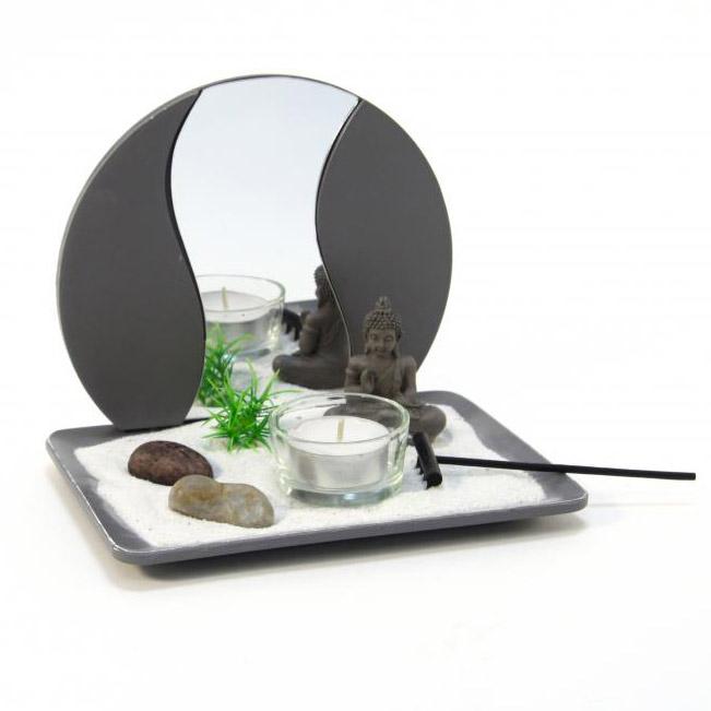 jardin zen avec bouddha et plateau miroir. Black Bedroom Furniture Sets. Home Design Ideas