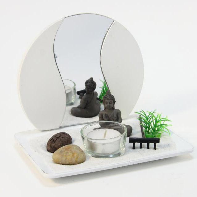 Jardin zen japonais bouddha avec miroir ebay for Miroir japonais