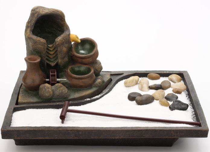 Fontaine Jardin Zen Cascade Avec Jarres Marrons