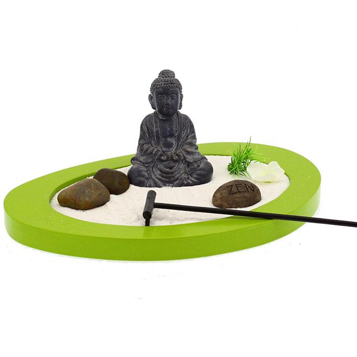 Jardin zen bouddha oval en forme de galet - Bouddha jardin zen ...