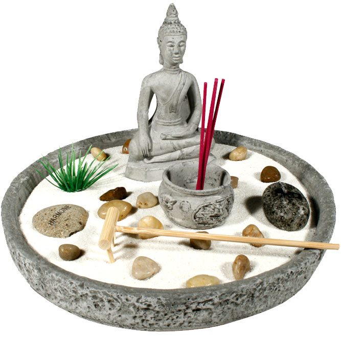jardin zen bouddha avec pierres portes bonheurs
