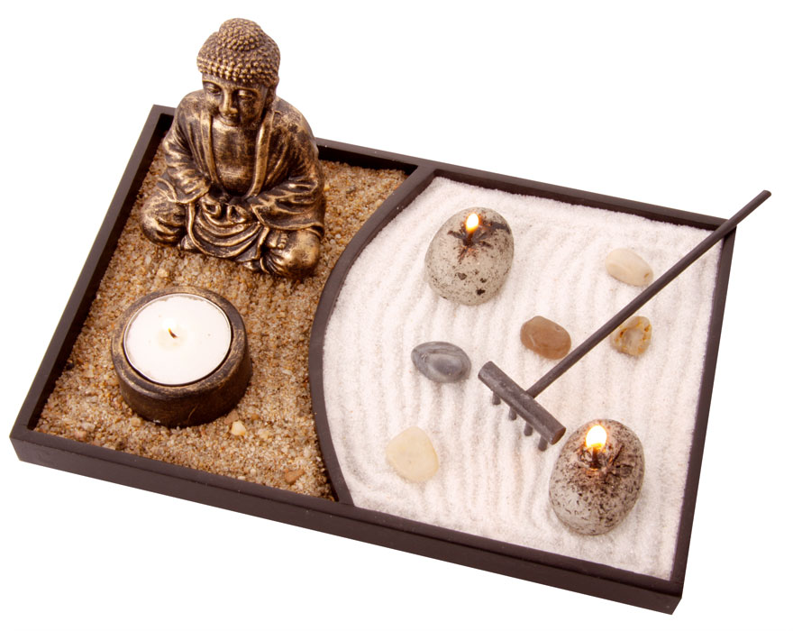 jardin zen avec statue. Black Bedroom Furniture Sets. Home Design Ideas