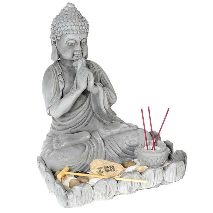 Jardin zen statue bouddha 26 5 cm de hauteur for Bouddha jardin zen