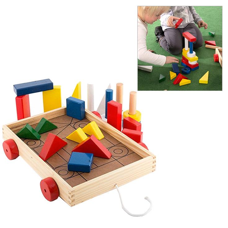 Jeu de construction 24 pi ces en bois avec chariot enfants loisirs et jeux for Jeu construction bois