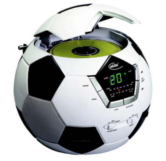 lecteur cd avec radio st r o la forme d 39 un ballon de foot. Black Bedroom Furniture Sets. Home Design Ideas