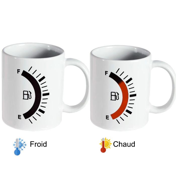 mug magique chaud froid pour le caf jauge carburant essence. Black Bedroom Furniture Sets. Home Design Ideas