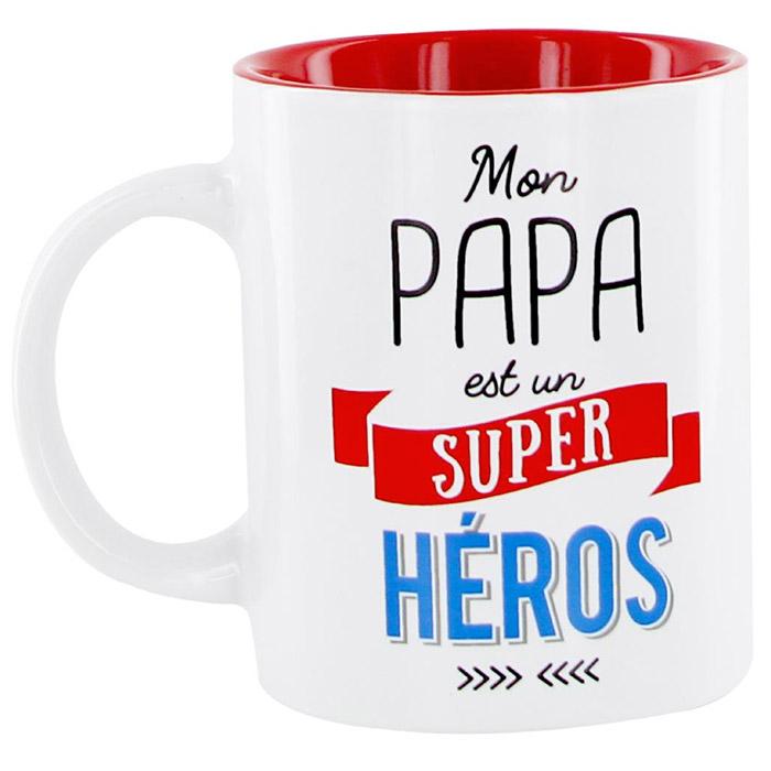 mug papa mon papa est un super h ros cadeau f te des p res. Black Bedroom Furniture Sets. Home Design Ideas