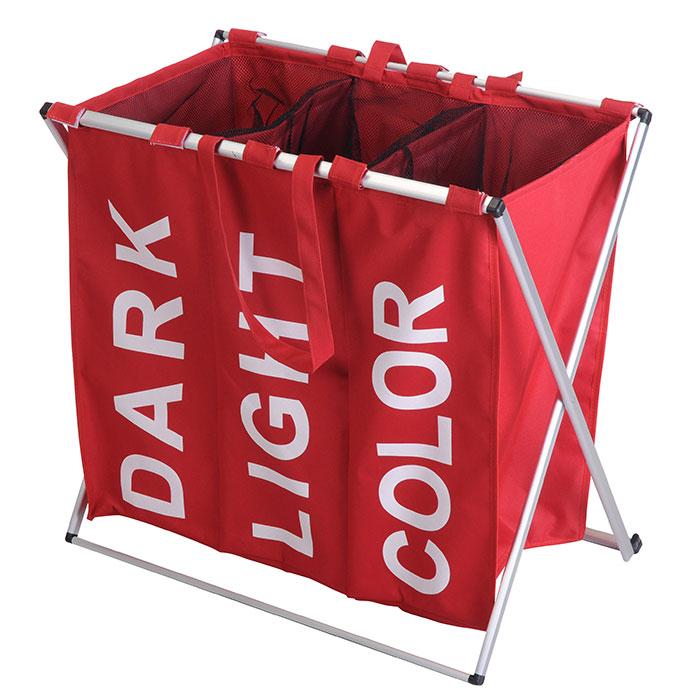 panier linge triple trois compartiments pratique design et robuste. Black Bedroom Furniture Sets. Home Design Ideas