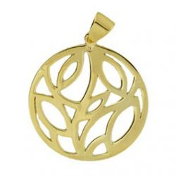 Pendentif Rond ajour plaqu Or