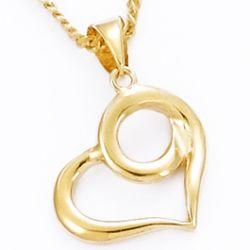 Pendentif Coeur courbé plaqué or