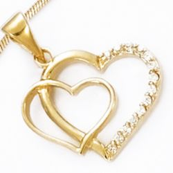 Pendentif Double Coeur Plaqu Or Demi Pav
