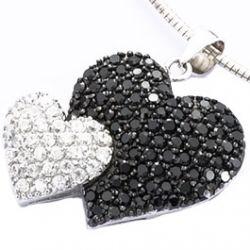 Pendentif Double Coeur Argent avec oxydes noirs et blancs