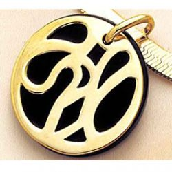 Pendentif Onyx Rond ajour plaqu Or
