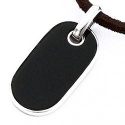 Pendentif Argent Plaque Ovale Noire