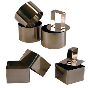 3 Cercles et 3 Carrés de Présentation Inox avec Poussoirs - 6 cm