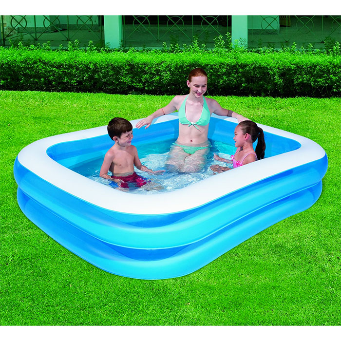 Piscine gonflable familiale 211 x 132 cm jardin for Piscine rectangulaire enfant