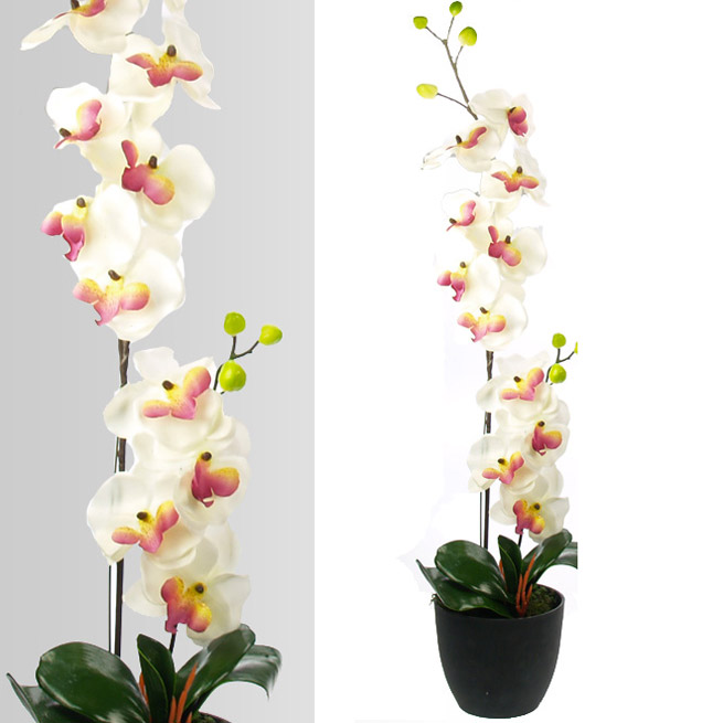 Plante artificielle orchid e 77 cm tr s r aliste ebay for Belle plante artificielle