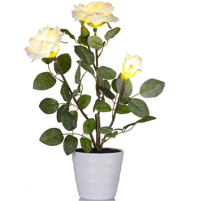 Plante artificielle lumineuse rosier avec fleurs blanches for Plante lumineuse