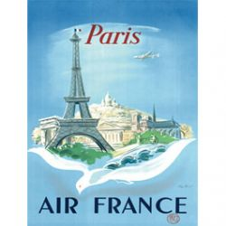 Plaque Métal Air France Paris 30x40 cm